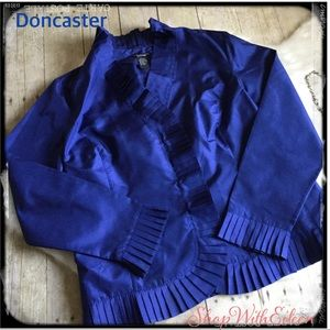Doncaster Royal Blue Silk Pleated Blouse NWOT